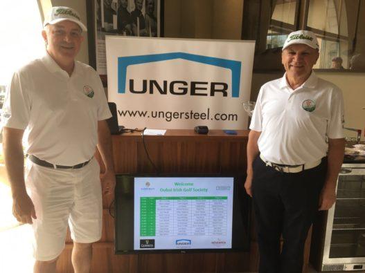 Larry Burke und Josef Unger bei Golfturnier der Dubai Irish Golf Society